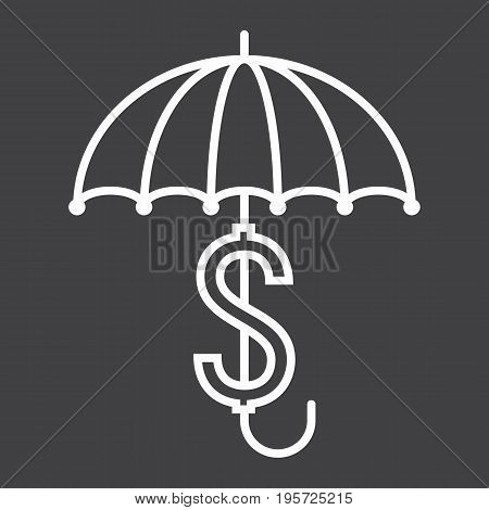Business Insurance line icon, umbrella and dollar sign, vector graphics, a linear pattern on a black background, eps 10.