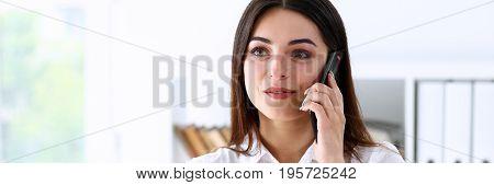 Beautiful Brunette Smiling Businesswoman Talk Cellphone