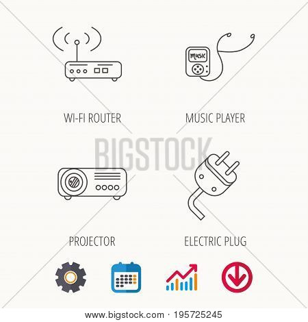 Electric plug, wi-fi router and projector icons. Music player linear sign. Calendar, Graph chart and Cogwheel signs. Download colored web icon. Vector