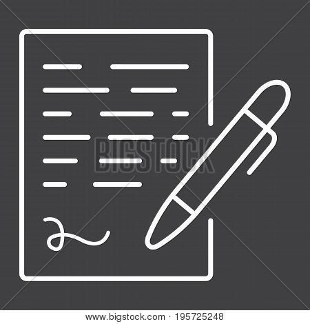 Pen signing line icon, business contract and signature, vector graphics, a linear pattern on a black background, eps 10.