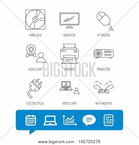 Monitor, printer and wi-fi router icons. Video chat, electric plug and pc mouse linear signs. Projector, hard disk icons. Report file, Graph chart and Chat speech bubble signs. Vector