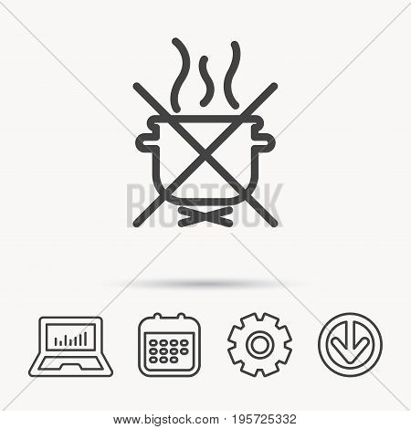 Boiling saucepan icon. Do not boil water sign. Cooking manual attenction symbol. Notebook, Calendar and Cogwheel signs. Download arrow web icon. Vector