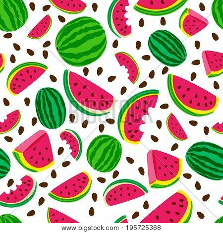 Vector Seamless Pattern With Fresh Watermelon Isolated On White Background. Hand Drawn Doodle Illust
