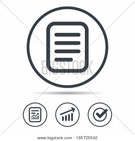 File icon. Text document page symbol. Report document, Graph chart and Check signs. Circle web buttons. Vector