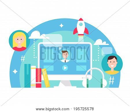 Blended Learning and E-learning Education Concept Illustration. Flat Vector Design