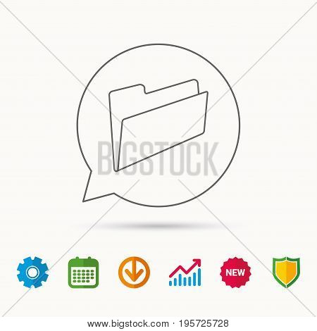 Folder icon. Accounting audit sign. Calendar, Graph chart and Cogwheel signs. Download and Shield web icons. Vector
