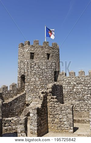 West tower of the Moorish Castle in Sintra Portugal