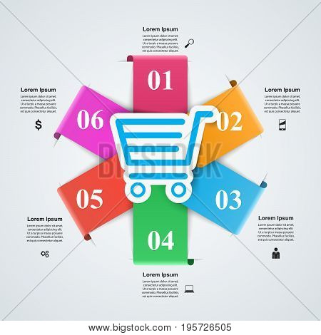 Illustration of business. Marketing icons. Cart and shop.