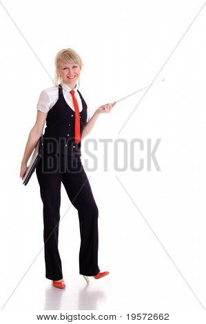 beauty young businesswoman or instructor with pointer, isolated on white
