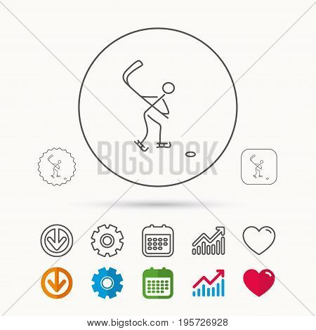 Ice hockey icon. Professional sport game sign. Calendar, Graph chart and Cogwheel signs. Download and Heart love linear web icons. Vector
