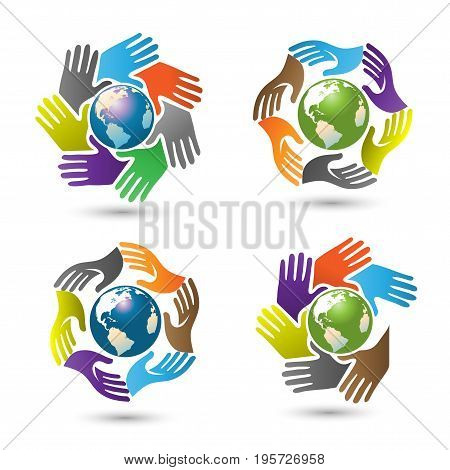 hand and earth social logo, Hands surrounding earth vector