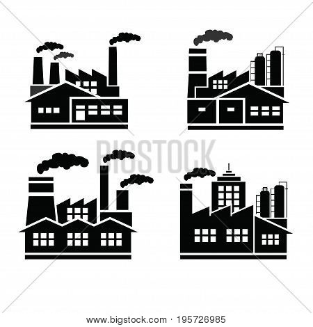 Illustration drawing of factory logo vector silhouette.