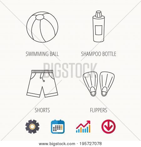 Flippers, swimming ball and trunks icons. Shampoo bottle linear sign. Calendar, Graph chart and Cogwheel signs. Download colored web icon. Vector