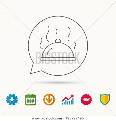 Restaurant cloche platter icon. Hot food sign. Calendar, Graph chart and Cogwheel signs. Download and Shield web icons. Vector