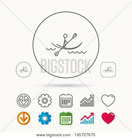 Kayaking on waves icon. Rafting or canoeing sign. Boating sport symbol. Calendar, Graph chart and Cogwheel signs. Download and Heart love linear web icons. Vector
