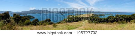 Panoramic view over Bay of Islands New Zealand NZ from Urupukapuka Island walking track
