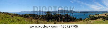 Panorama of Bay of Islands New Zealand NZ from Urupukapuka Island walking track