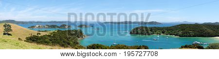 Panoramic view over Otehei Bay and Bay of Islands New Zealand NZ from Urupukapuka Island walking track