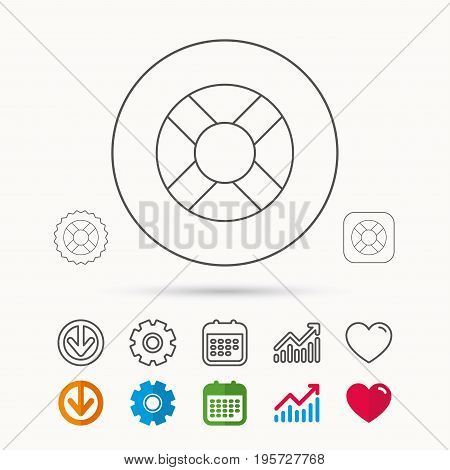Lifebuoy icon. Lifebelt sos sign. Lifesaver help equipment symbol. Calendar, Graph chart and Cogwheel signs. Download and Heart love linear web icons. Vector