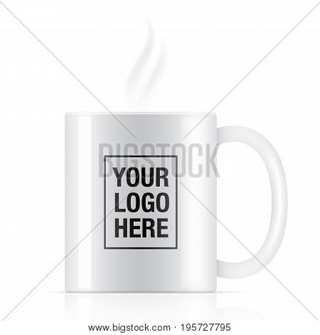 White vector coffee mug template isolated on background. Steam coming up from a white vector coffee mug.