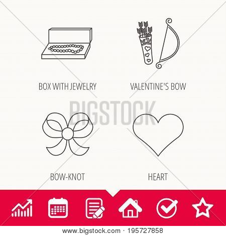 Love heart, jewelry and bow-knot icons. Valentine amour arrows linear sign. Edit document, Calendar and Graph chart signs. Star, Check and House web icons. Vector