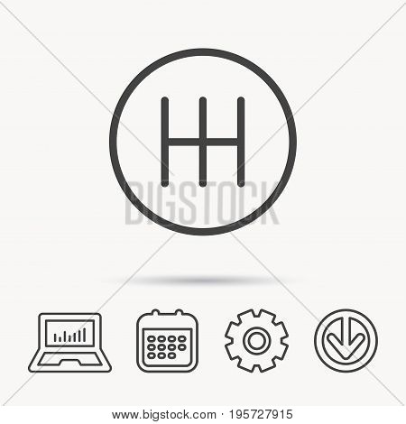 Manual gearbox icon. Car transmission sign. Notebook, Calendar and Cogwheel signs. Download arrow web icon. Vector