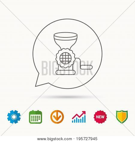 Meat grinder icon. Manual mincer sign. Kitchen tool symbol. Calendar, Graph chart and Cogwheel signs. Download and Shield web icons. Vector