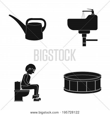 tool, plumbing, equipment and other  icon in black style. decoration, box, round icons in set collection.