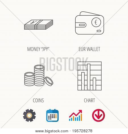 Euro wallet, cash money and chart icons. Coins linear sign. Calendar, Graph chart and Cogwheel signs. Download colored web icon. Vector