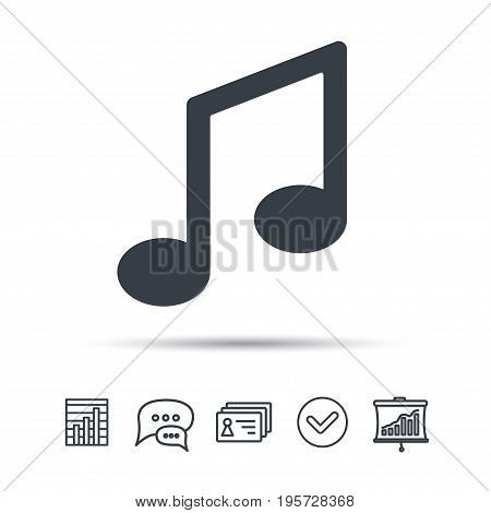 Music icon. Musical note sign. Melody symbol. Chat speech bubble, chart and presentation signs. Contacts and tick web icons. Vector