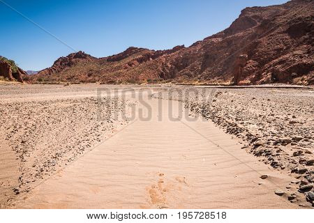 Dry sand river in mountains of Altiplano Bolivia South America
