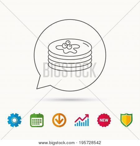 Pancakes icon. American breakfast sign. Food with maple syrup symbol. Calendar, Graph chart and Cogwheel signs. Download and Shield web icons. Vector