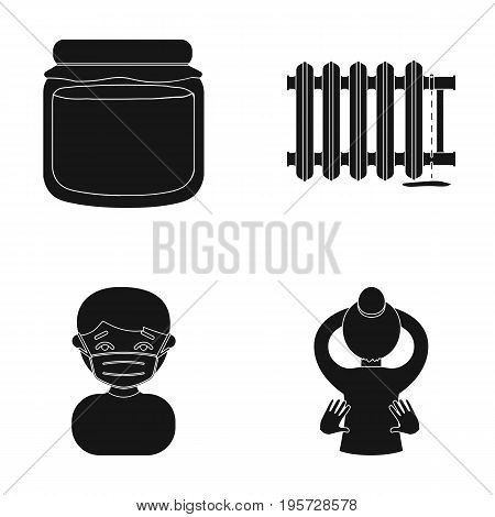 health, sport, medicineand other  icon in black style., girl, yoga, occupation icons in set collection