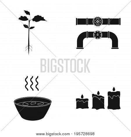nature, ecology, industry and other  icon in black style. fire, design, light icons in set collection.