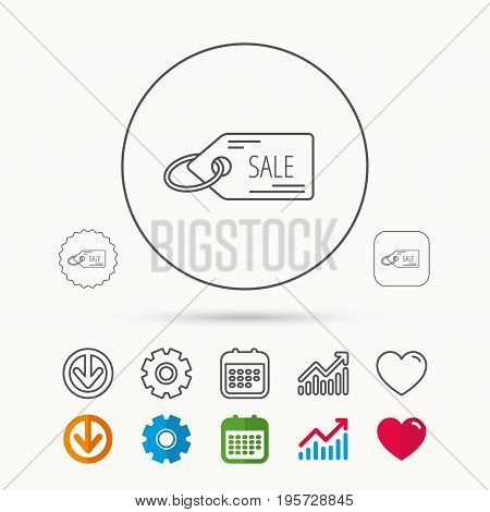 Sale shopping tag icon. Discount label sign. Calendar, Graph chart and Cogwheel signs. Download and Heart love linear web icons. Vector
