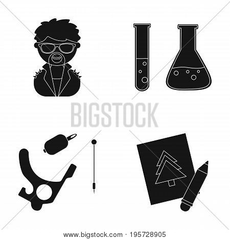 art, hobbies, equipment and other  icon in black style.pencil, paper, drawing, icons in set collection