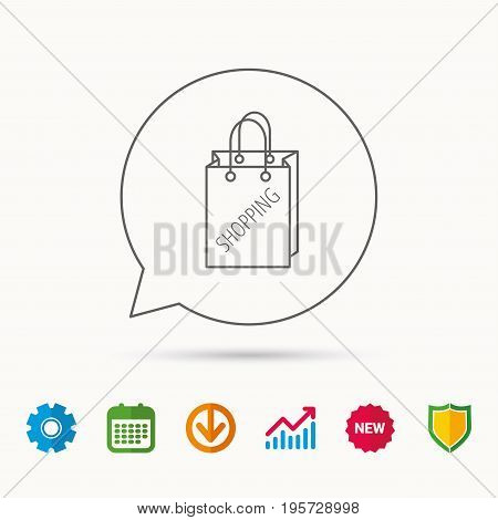 Shopping bag icon. Sale handbag sign. Calendar, Graph chart and Cogwheel signs. Download and Shield web icons. Vector