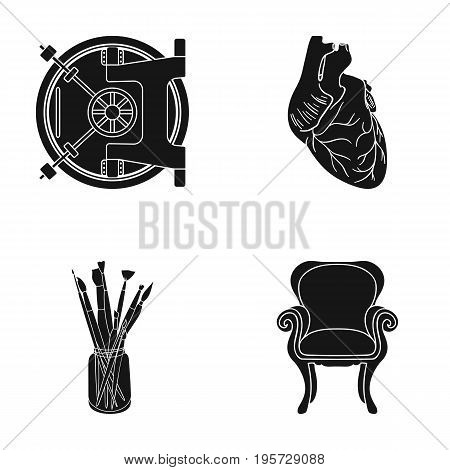 furniture, medicine, business and other  icon in black style. legs, curly, fabric, icons in set collection