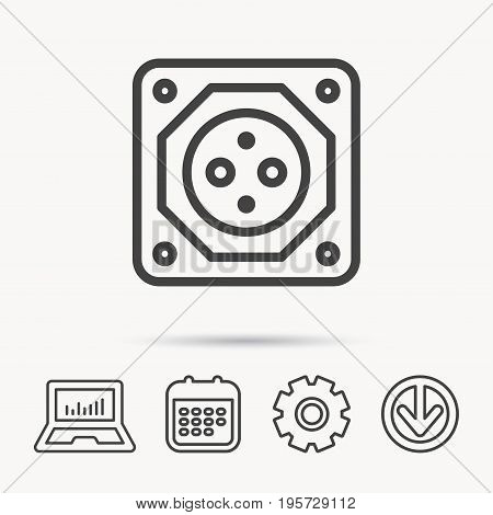 European socket icon. Electricity power adapter sign. Notebook, Calendar and Cogwheel signs. Download arrow web icon. Vector
