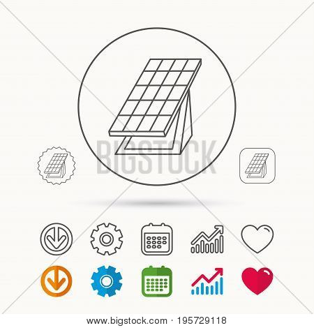 Solar collector icon. Sunlight energy generation sign. Innovation battery power symbol. Calendar, Graph chart and Cogwheel signs. Download and Heart love linear web icons. Vector