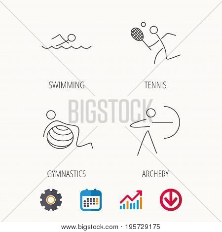 Swimming, tennis and gymnastics icons. Archery linear sign. Calendar, Graph chart and Cogwheel signs. Download colored web icon. Vector
