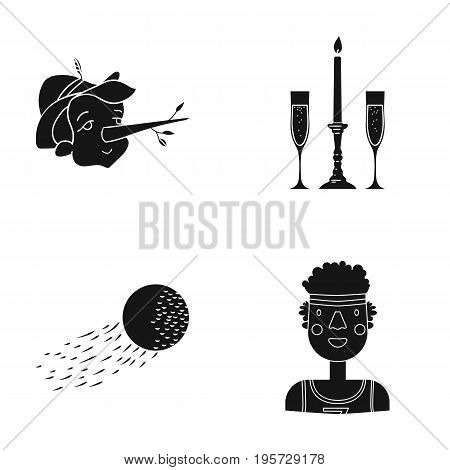 african, sport, entertainment and other  icon in black style. universe, man, sportsman icons in set collection.