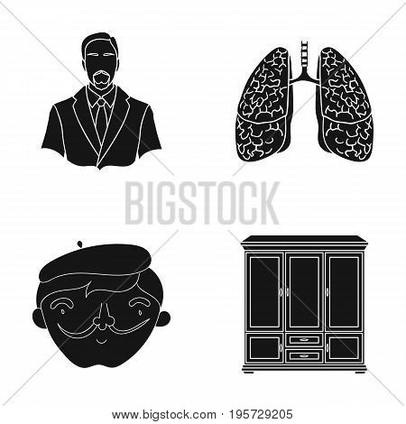 art, education, medicine and other  icon in black style. beret, decoration, industry icons in set collection.