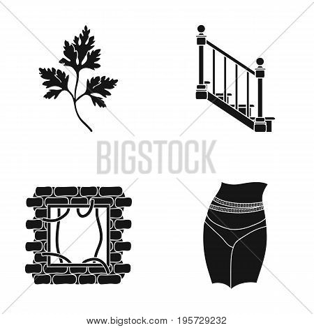 occupation, nature, ecology and other  icon in black style ribbon, diet, sport, icons in set collection