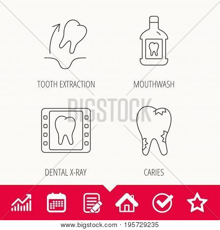 Tooth extraction, caries and mouthwash icons. Dental x-ray linear sign. Edit document, Calendar and Graph chart signs. Star, Check and House web icons. Vector