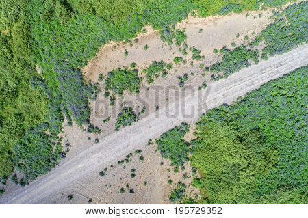Gravel road seen from above