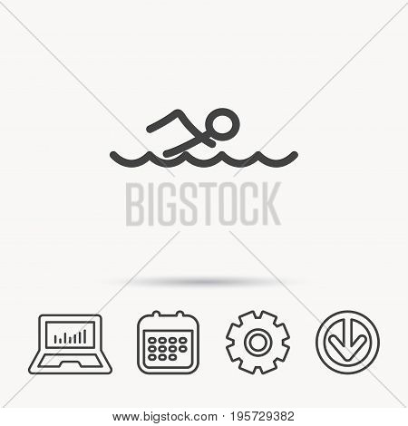 Swimming icon. Swimmer in waves sign. Professional sport symbol. Notebook, Calendar and Cogwheel signs. Download arrow web icon. Vector