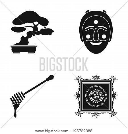 drawing, decoration, nature and other  icon in black style., rolling, carpet, painting icons in set collection