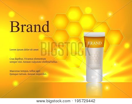 Cosmetics, face and body cream, lotion, honey honey gel with honeycomb and honeycombs on a gentle background, advertisement, design, 3d vector realistic, eps 10