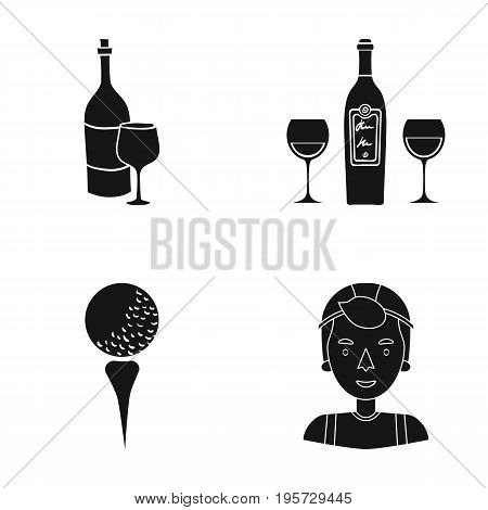 cap, sportsman, winery and other  icon in black style.tennis, competition, man, icons in set collection
